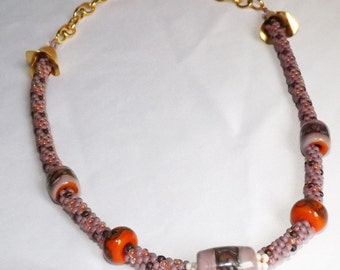 Purple and Orange Kumihimo Necklace with 5 lampwork beads in shades of Lavendar and Dark Orange