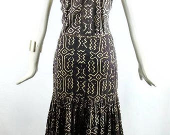 NORMA KAMALI VINTAGE Tribal Ikat  Maxi Gypsy layered tiered Skirt and Matching Racer back  top Tribal Print Boho Chic