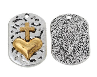 3 CROSS HEART DOGTAG Charm Pendants, silver tone base with gold cross, rustic hammered metal rectangle, 37x15mm, chs2743