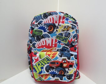 Monster Trucks With Side Pocket Preschool Backpack