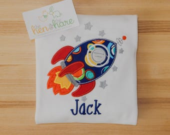 Rocket Ship Blast Off Space Exploration personalized monogrammed shirt or onesie custom made name initials applique embroidery boy girl