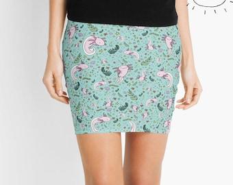 Axolotl Skirt, Axolotl Miniskirt, Axolotl Gifts for Her, Cute Axolotls, Axolotl Gifts, Axolotl Design, Axolotl Women Clothes, Axolotls