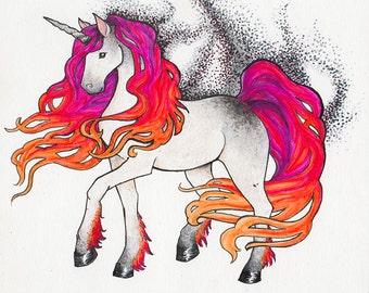 Phoenix Flames Unicorn, Original Framed Art