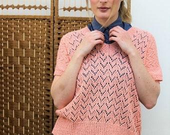 1980s Handmade Knitted Peach Sweater Size UK 12, US 8, EU 40