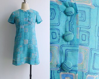 Vintage 70's 'Abstract Squares' Sky Blue Mod Mini Scooter Dress XS