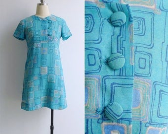 15% SALE (Code In Shop) - Vintage 70's 'Abstract Squares' Sky Blue Mod Mini Scooter Dress XS
