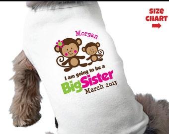 Monkey Big Sister Dog Shirt - Surprise Pregnancy Announcement Dog Shirt