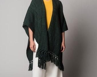 Kimono jacket, Woven Ruana Shawl, Green Poncho merino wool plus size, Kimono cardigan by Texturable