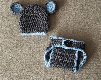 Crochet Mouse Set with Hat and Diaper Cover Baby Girl Baby Boy, Photography Prop Set, Size Newborn and Infant – Grey Heather & Light Blue