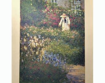 Vintage Art Print - Tending the Garden - Deborah Cotrone - Original Serigraph Print - Flowers, Impressionist Style - Wall Art for Home Decor