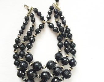 Gorgeous Chunky Black Faceted Triple Strand Vintage Choker Necklace with Rhinestone Wedding Ring Spacers