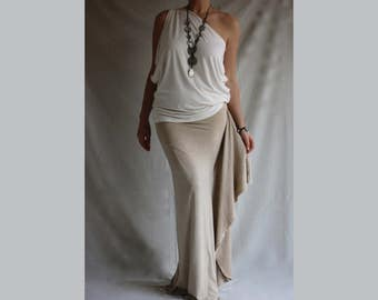 One Shoulder Top Asymmetric Top Ivory Jersey Top Wide Loose Tee One Shoulder Blouse Plus Size Shirt Asymmetric Top Oversized Shirt