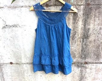 Indigo silk blouse, size M, indigo silk top