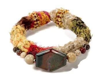 Stone Jewelry, Gemstone Bracelet, Textile Bracelet, Gift for her, Jasper Bracelet, Unique Bracelet, Fabric Jewelry, Stone Bracelet, Woven