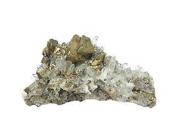Chalcopyrite with Quartz Crystals and Golden Druzy Crystalline Pyrite on rock matrix Colorado Mineral Specimen from an estate collection