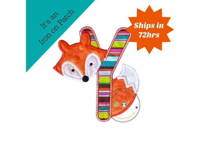 Woodland fox letter Y machine embroidered iron on no sew patch, fox embroidered monogram letter Y, ready to ship