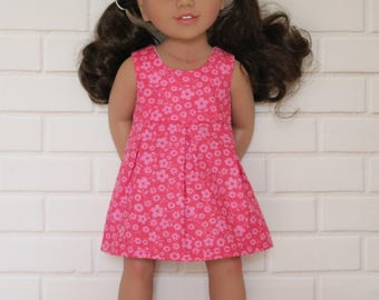 Bright Pink Floral Sleeveless Summer Dress Doll Clothes to fit 18 inch dolls to 20 inch dolls such as American Girl & Australian Girl dolls