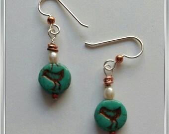 Chick earrings blue green turquoise czech glass earrings with copper