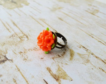 Bunch of Orange Flowers Adjustable Ring Antique Brass Flower Ring Bouquet of Flowers Ring Summer Jewelry Bridesmaid Gift