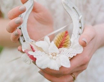 Nadya Floral Ivory and Blush Lucky Wedding Horseshoe