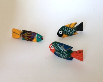 3 Vintage Handmade Mexican Fish, Folk Art, Painted, Carved Wood