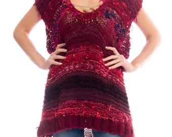 1980s Crocheted Knit Sweater Dress Size: L