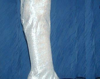 Silver Sparkly Metallic Lamé 1960s Boots
