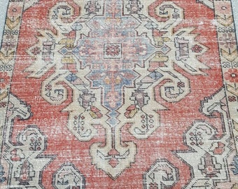 Vintage Oushak Rug / 4 by 7 / Muted / Pastel / Red-Blue / Boho / Low-Pile / Distressed Rug - 84 in x 52 in