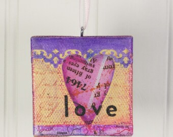 Whimsical Heart Ornament, Love in Pink & Purple Mixed Media Miniature Art Wall Hanging
