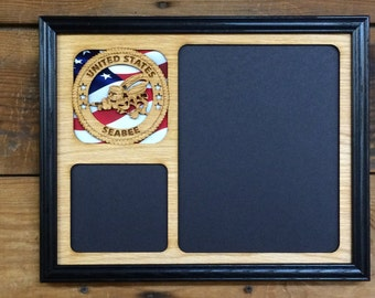 united states seabees picture frame us seabees gift us seabees decor veteran gift - Military Frames