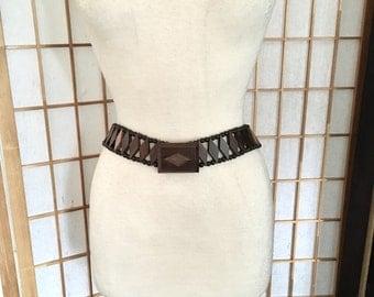 Vintage 70s Wood Belt and Buckle in Diamond Shape Walnut Wood
