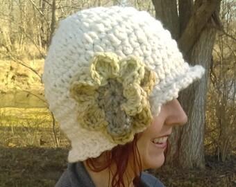 Cream Crocheted Cloche With Flower