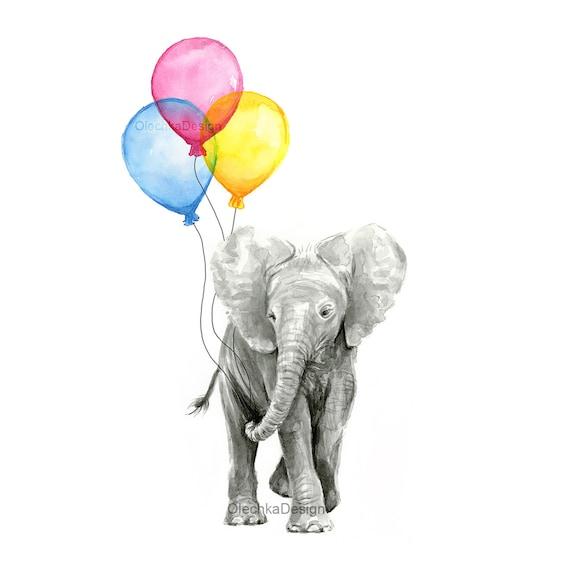 Baby Nursery Art Print, Elephant Art, Baby Elephant Balloons, Watercolor Elephant Painting, Nursery Decor, Baby Room, Colorful Print