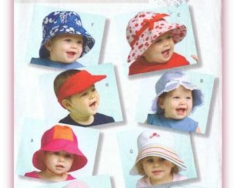 Infants Hats Sewing Pattern Butterick B4531 Beach Hat - Visor - Frilly Cap Sizes S - M - L - XL