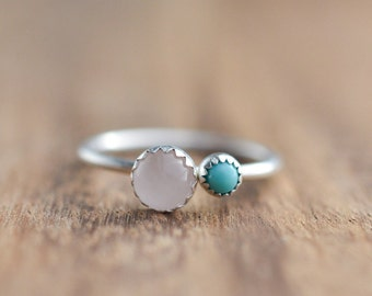 Sterling Silver Rose Quartz and Turquoise Ring // Dual Stone Ring // Sterling Silver Ring // Gift for Her // Two Stone Ring // Turquoise