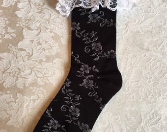 Boot Socks Black Mid Calf With Lace And Rhinestones