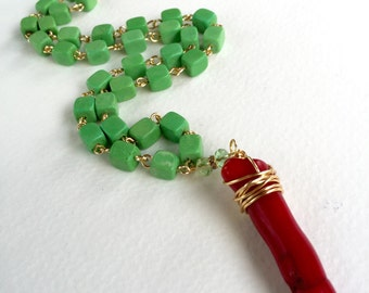 Chunky Green Chalk Turquoise & Coral Branch Statement Necklace by KarenWhalenDesigns