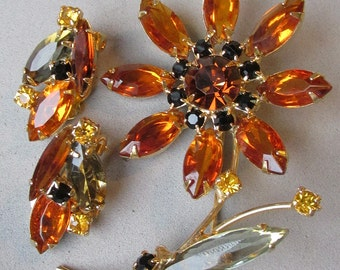 Vintage Topaz Rhinestone Long Stemmed Flower Pin & Earrings Set