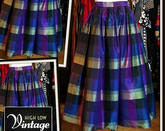 Vintage Purple Green Plaid Taffeta Crinoline Full Skirt High Waist FREE SHIPPING