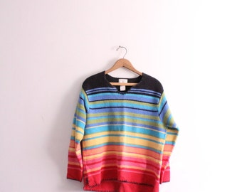 Rainbow Gradient Striped 90s Sweater