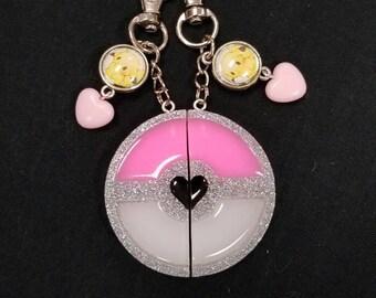 Pink Pokeball inspired Best Friend keychains - zipper pulls - bag charms
