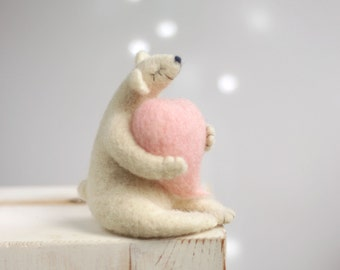 Needle Felted Bear - Dreamy White Bear With A Heart - Withe Polar Bear - Bear With Pink Heart - Needle Felt Animals - Blush Pink Heart