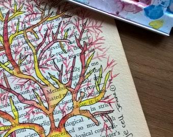 Neurological Watercolour- Purkinje Neuron in red and yellow hues
