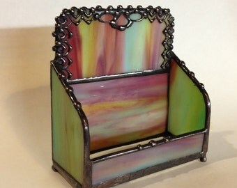 Business Card Holder / Stained Glass with Handmade, Metal Lace Edge  and Decorative Solder / Antique Art Deco Style