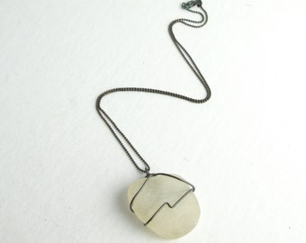 """Round White Sea Glass Wrapped with Antiqued 925 Sterling Silver on an Antiqued Sterling Silver Diamond Cut Bead Chain Necklace 16""""-24"""""""