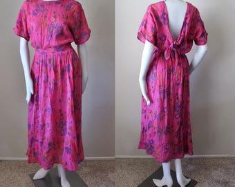 Vintage gauze maxi dress, pink, floral, short sleeve, tie back