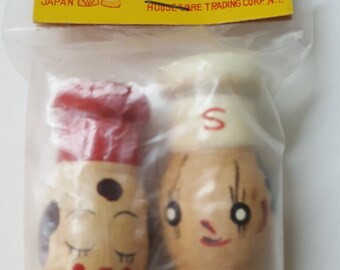 NOS Set of Wood People Salt and Pepper Shakers In Original Package House Ware Trading Co 1950's Made in Japan