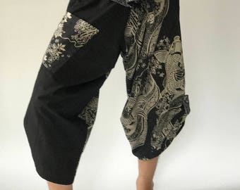 SR0009 Samurai pants with Unique Hilltribe fabric Wrap Around
