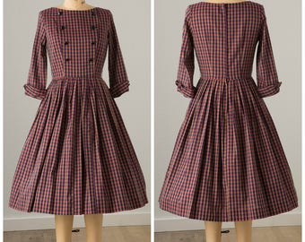 1950s Maroon and Navy Plaid Dress