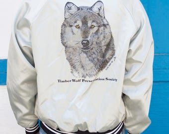 1960-80s Timber Wolf Preservation Society Donor Silver Ribbed Bomber Jacket Animal Paw Prints Chrome Black White Stunning Vintage Jacket